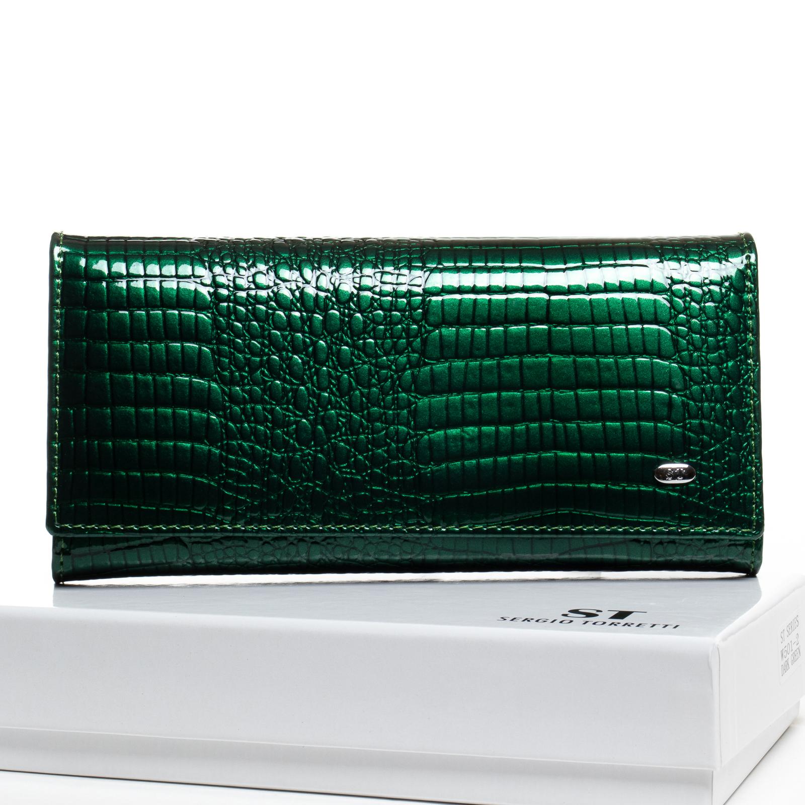 Кошелек LR кожа-лак SERGIO TORRETTI W501-2 dark-green